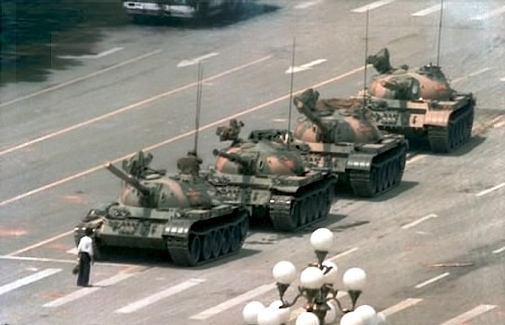 Man stalling tanks on Tiananmen Square 1989